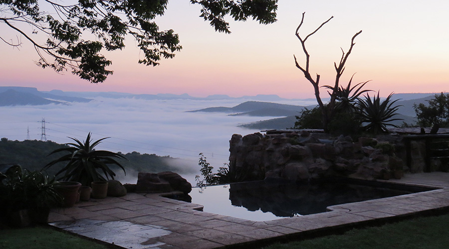 beautiful view over misty hills at Leopards and Louries Lodge, KwaZulu-Natal